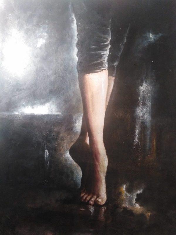 """""""Caminar entre penumbras"""" Técnicas óleo tela, medidas 60 x 43 cms. 700 €"""