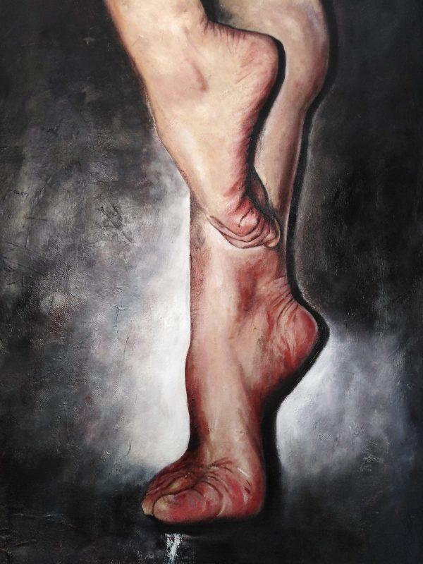 """""""El lenguaje de los pies"""" Técnicas óleo tela, medidas 60 x 38 cms. 700 €"""